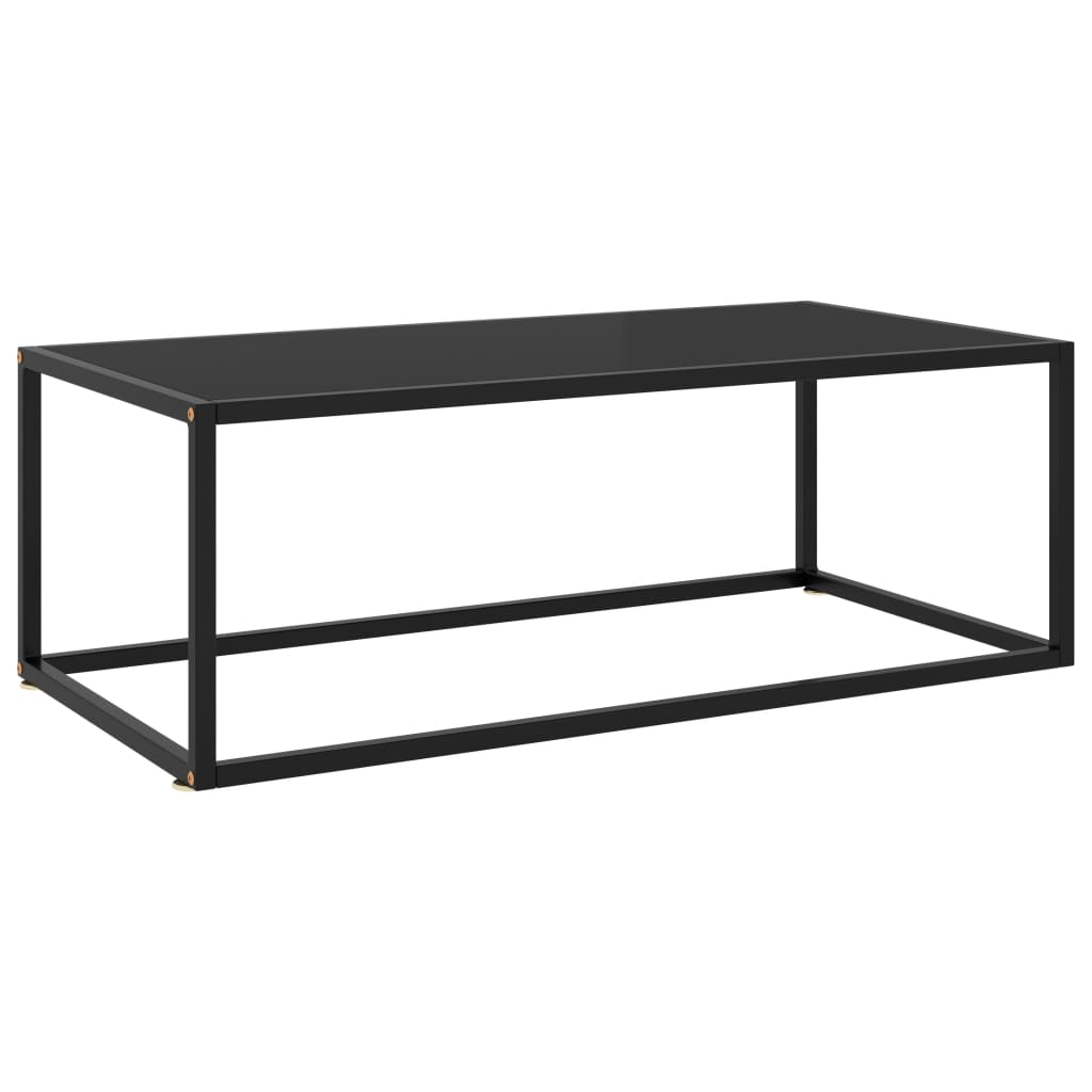 vidaXL Čajový stolík čierny s čiernym sklom 100x50x35 cm