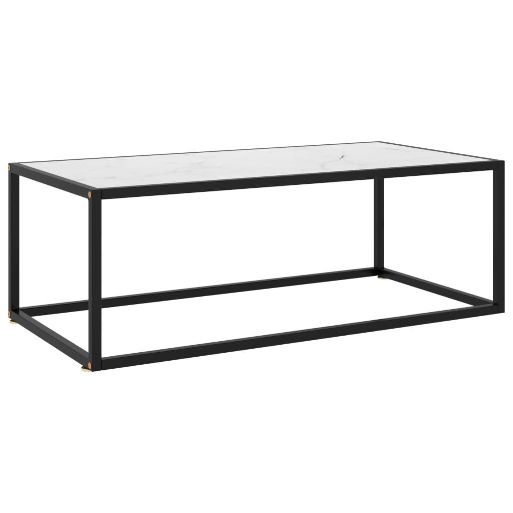 vidaXL Čajový stolík čierny s bielym mramorovým sklom 100x50x35 cm