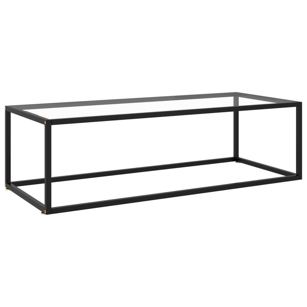 vidaXL Čajový stolík čierny s tvrdeným sklom 120x50x35 cm