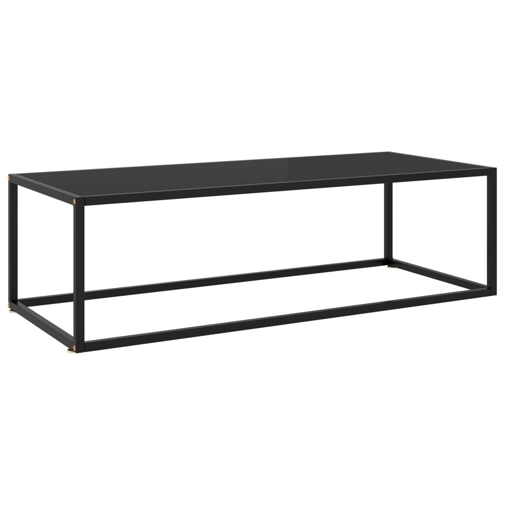 vidaXL Čajový stolík čierny s čierny sklom 120x50x35 cm