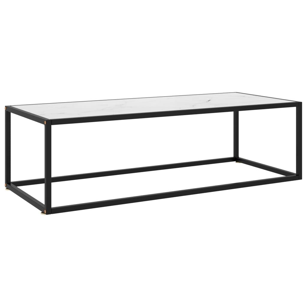 vidaXL Čajový stolík čierny s bielym tvrdeným sklom 120x50x35 cm