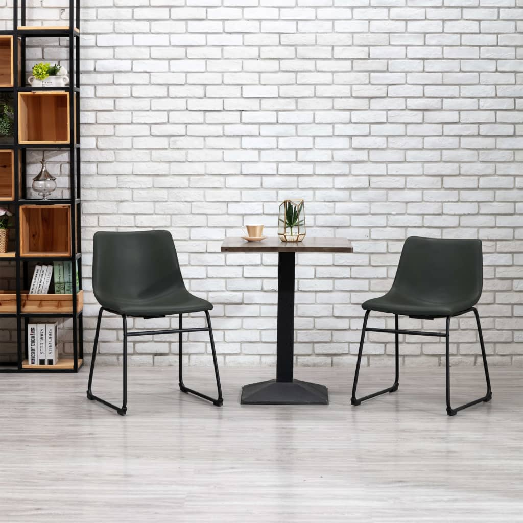 vidaXL Jedálenská stolička, sivá, umelá koža