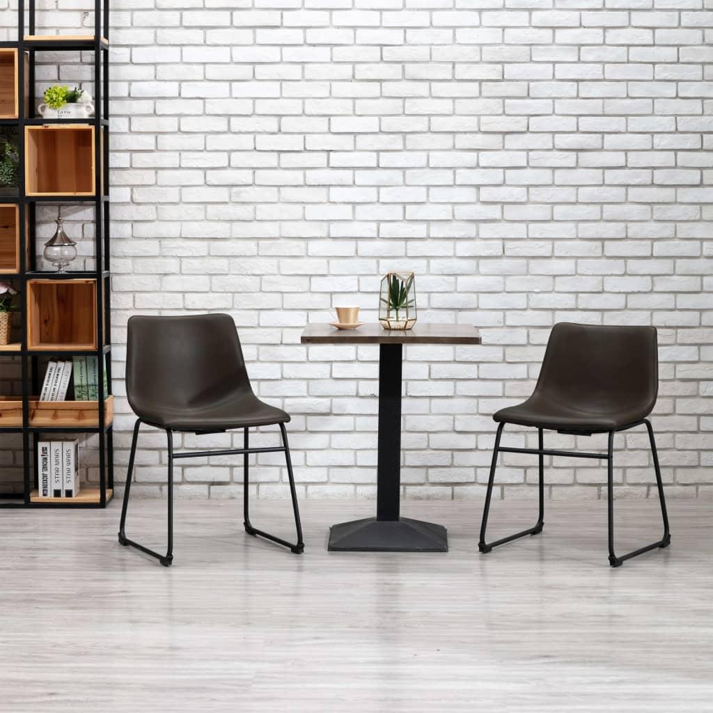 vidaXL Jedálenské stoličky 2 ks, tmavohnedé, umelá koža