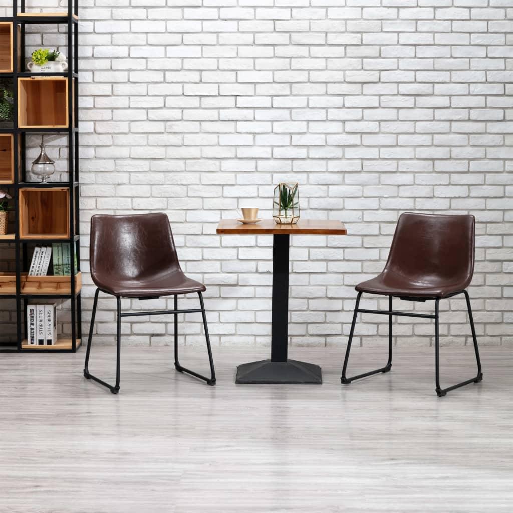 vidaXL Jedálenské stoličky 2 ks, lesklé hnedé, umelá koža