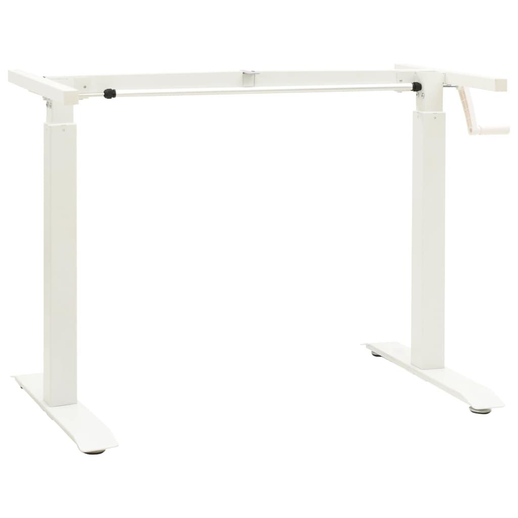 vidaXL Výškovo nastaviteľný rám stola ručne ovládaný biely