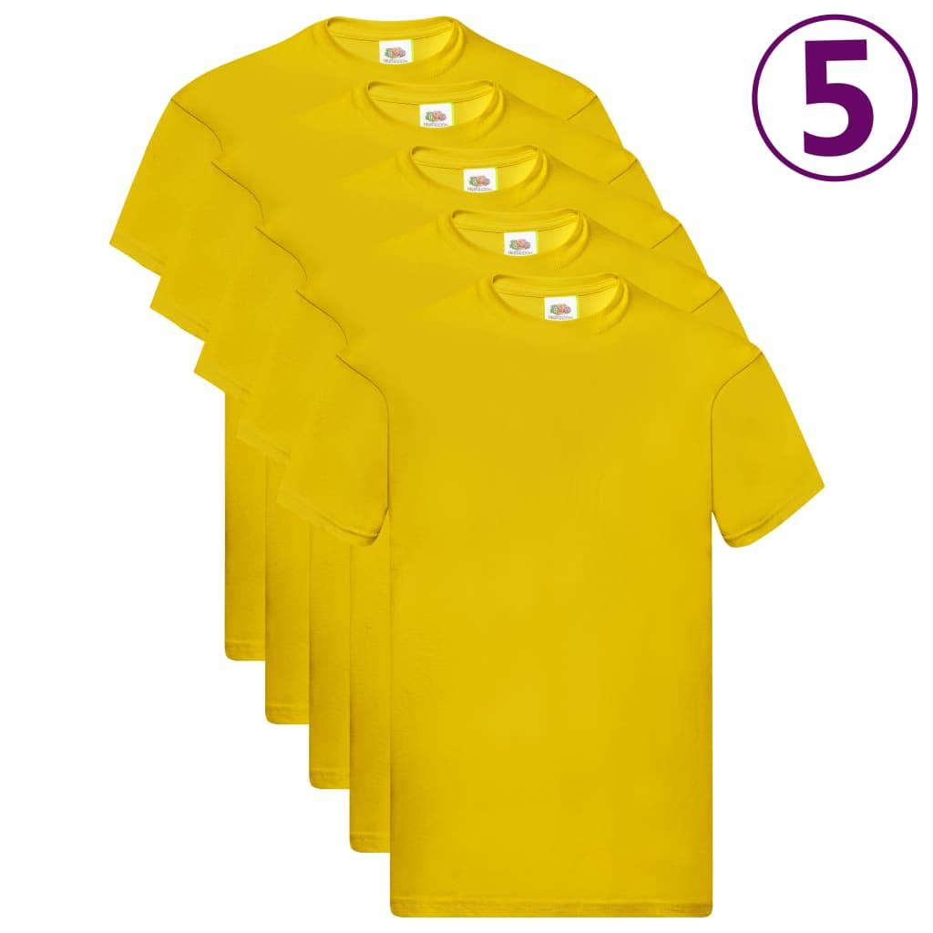 Fruit of the Loom Originálne tričká 5 ks žlté 3XL bavlnené