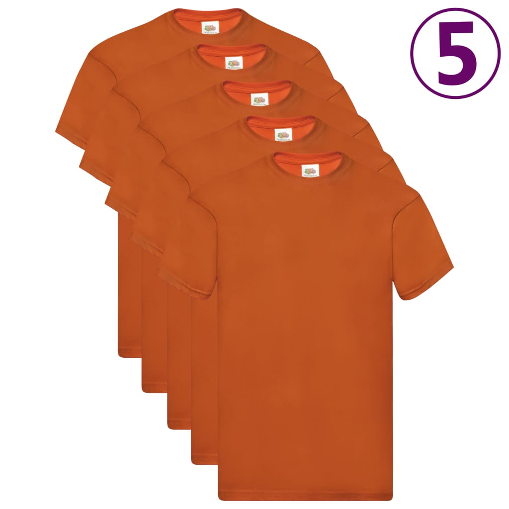 Fruit of the Loom Originálne tričká 5 ks oranžové XL bavlnené