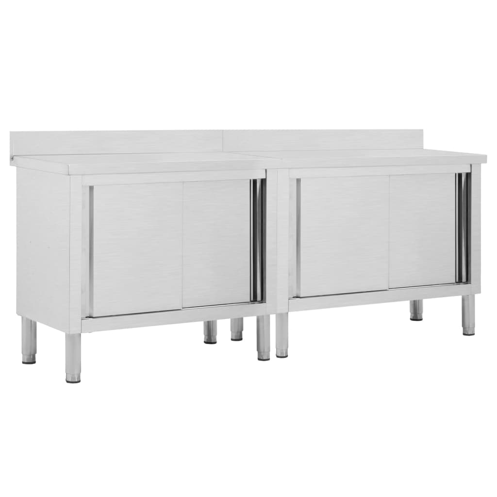 vidaXL Pracovné stoly s posuvnými dvierkami 2 ks 200x50x95 cm, oceľ