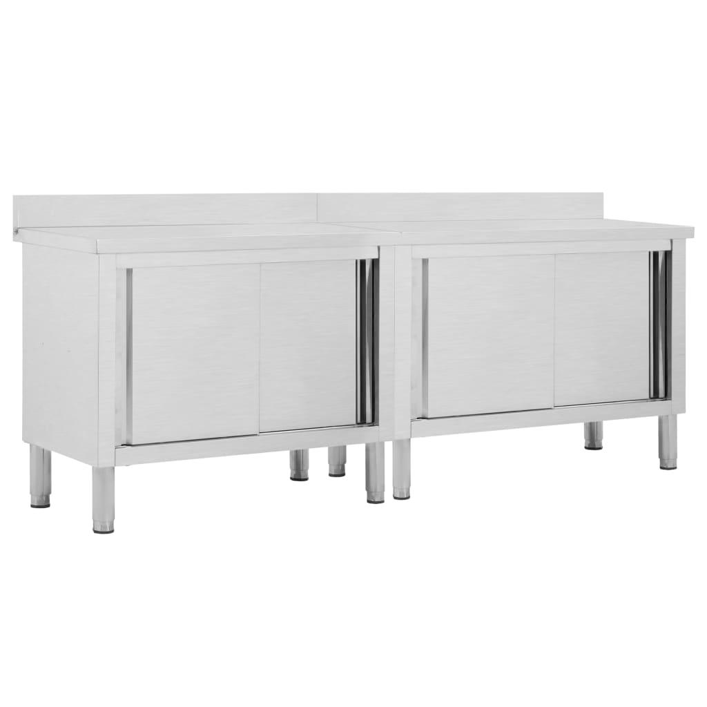 vidaXL Pracovné stoly s posuvnými dvierkami 2 ks 240x50x95 cm, oceľ