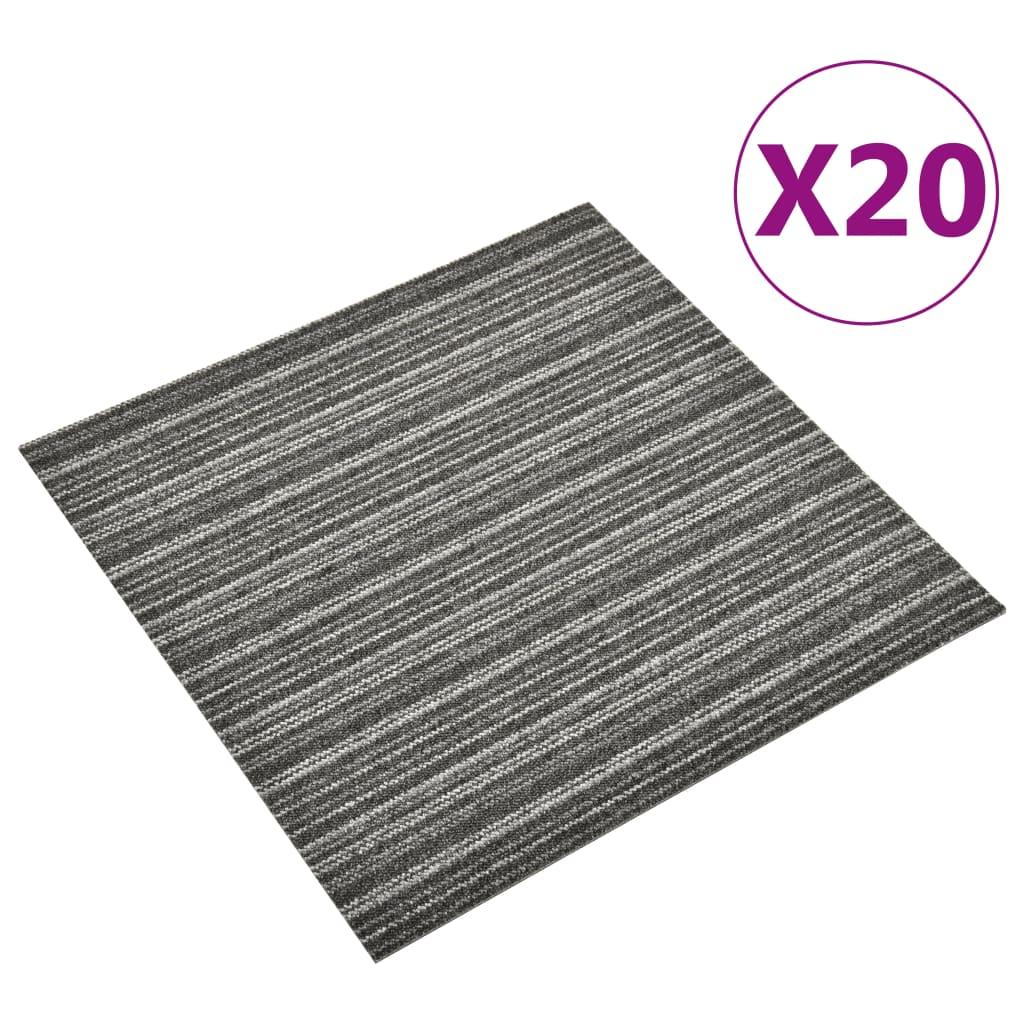 vidaXL Kobercové podlahové dlaždice 20 ks 5 m² 50x50 cm pruhy antracitové