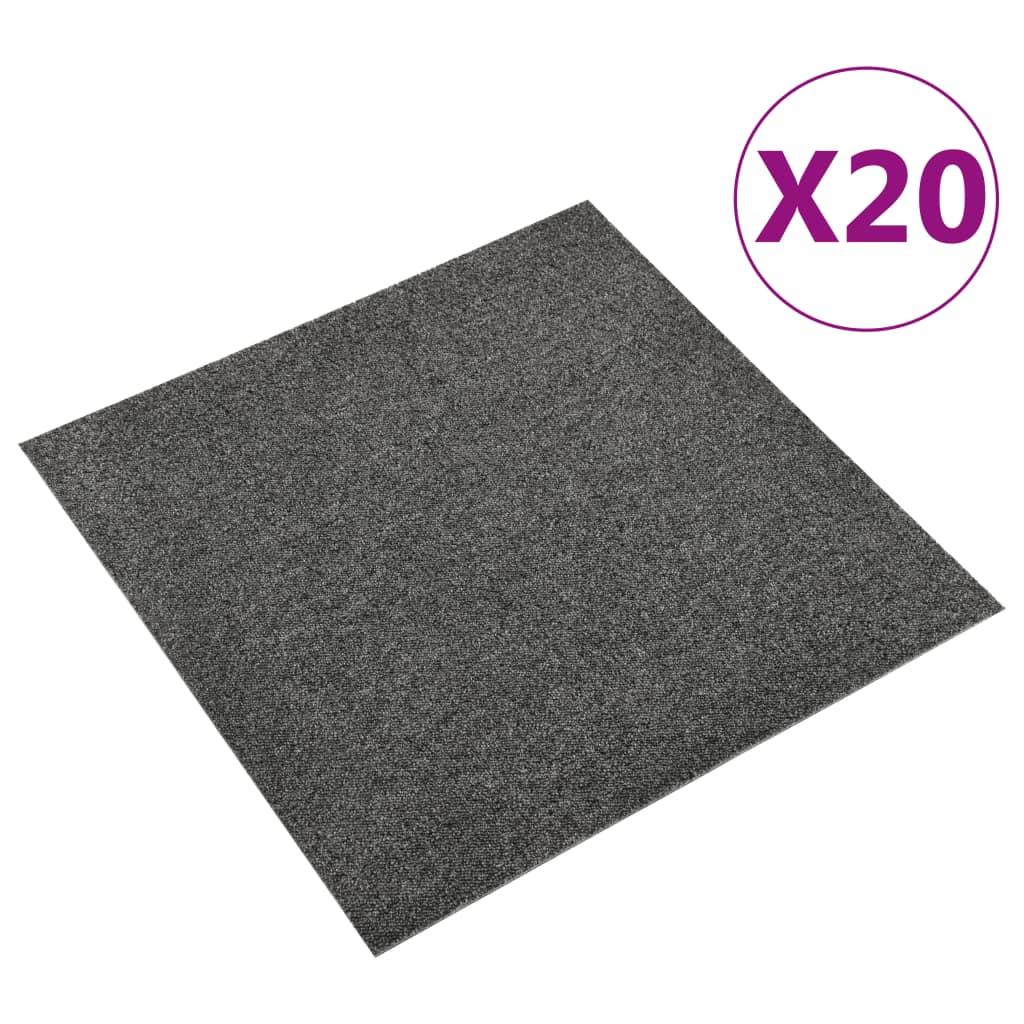 vidaXL Kobercové podlahové dlaždice 20 ks 5 m² 50x50 cm antracitové