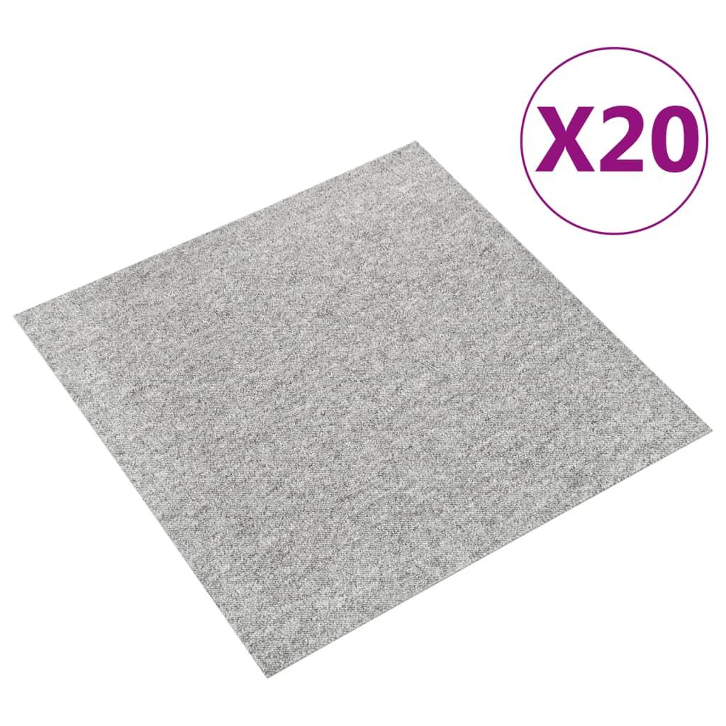 vidaXL Kobercové podlahové dlaždice 20 ks 5 m² 50x50 cm bledosivé