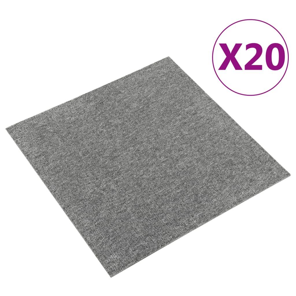 vidaXL Kobercové podlahové dlaždice 20 ks 5 m² 50x50 cm sivé