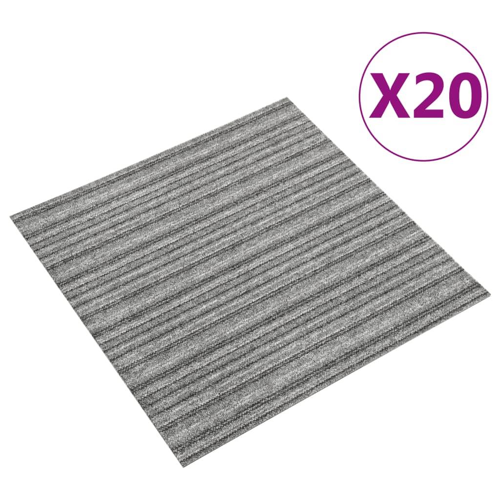 vidaXL Kobercové podlahové dlaždice 20 ks 5 m² 50x50 cm pruhy sivé