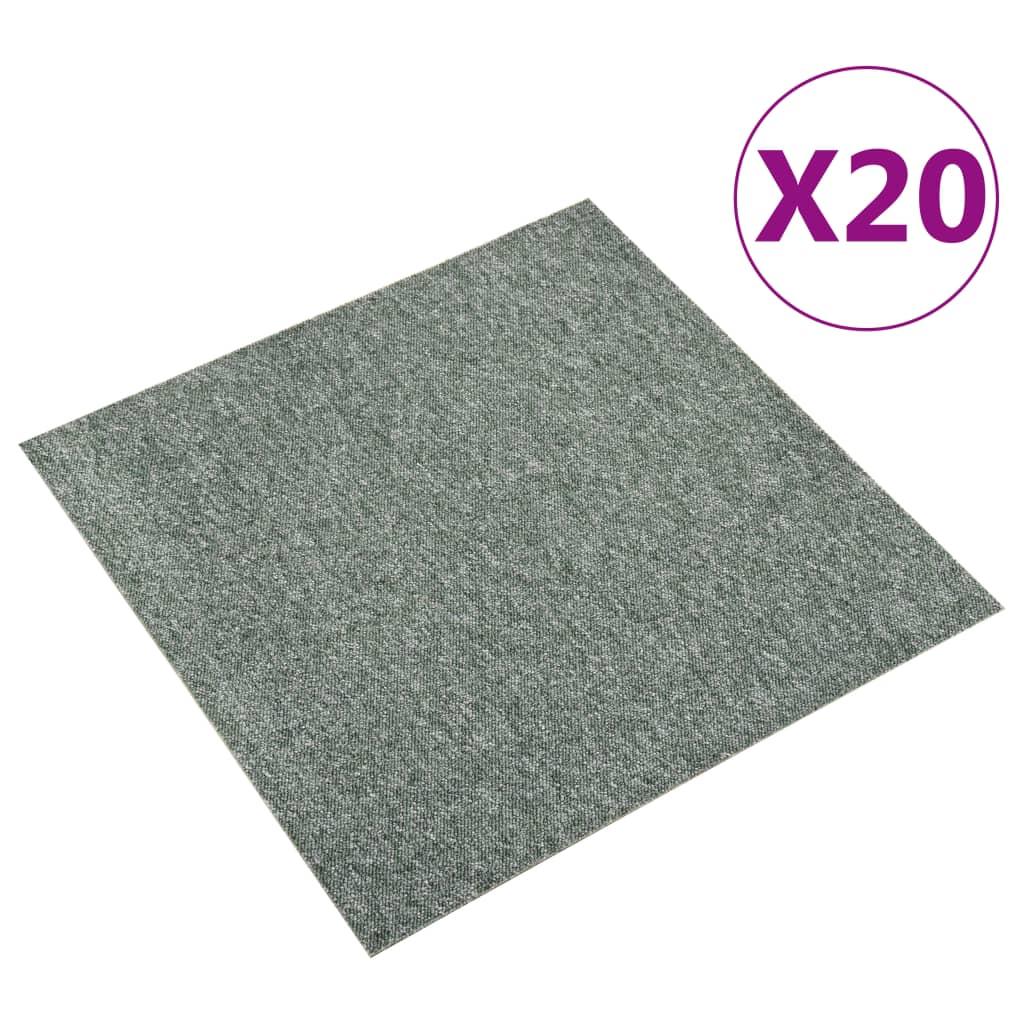 vidaXL Kobercové podlahové dlaždice 20 ks 5 m² 50x50 cm zelené