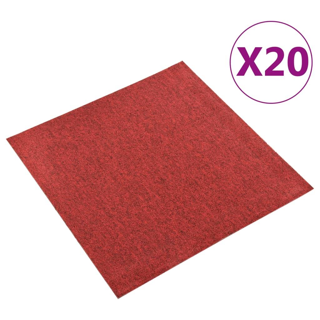 vidaXL Kobercové podlahové dlaždice 20 ks 5 m² 50x50 cm červené