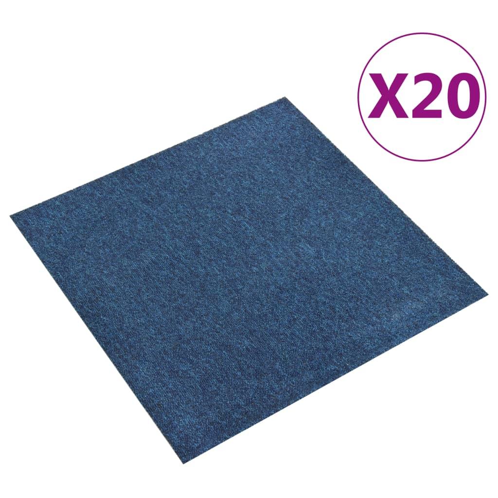 vidaXL Kobercové podlahové dlaždice 20 ks 5 m² 50x50 cm tmavomodré