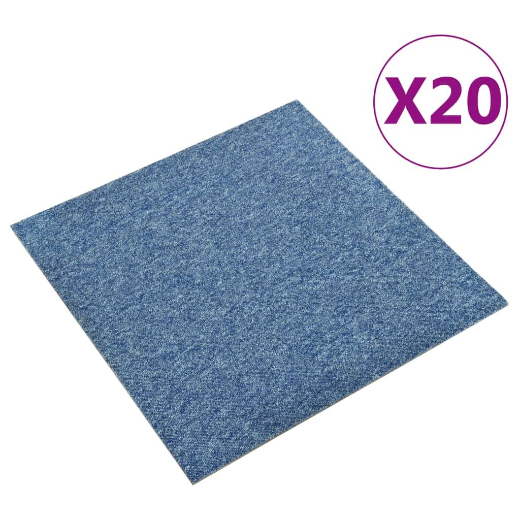 vidaXL Kobercové podlahové dlaždice 20 ks 5 m² 50x50 cm modré