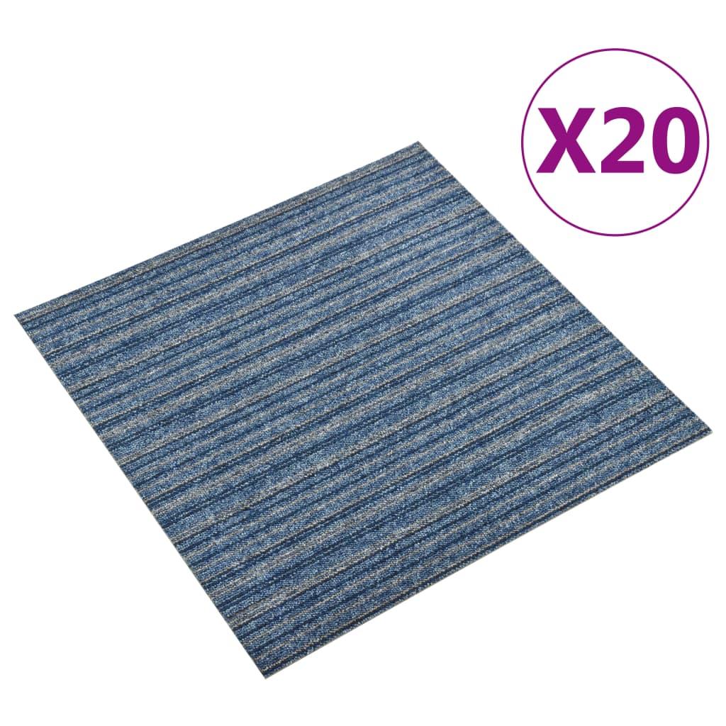 vidaXL Kobercové podlahové dlaždice 20 ks 5 m² 50x50 cm pruhy modré