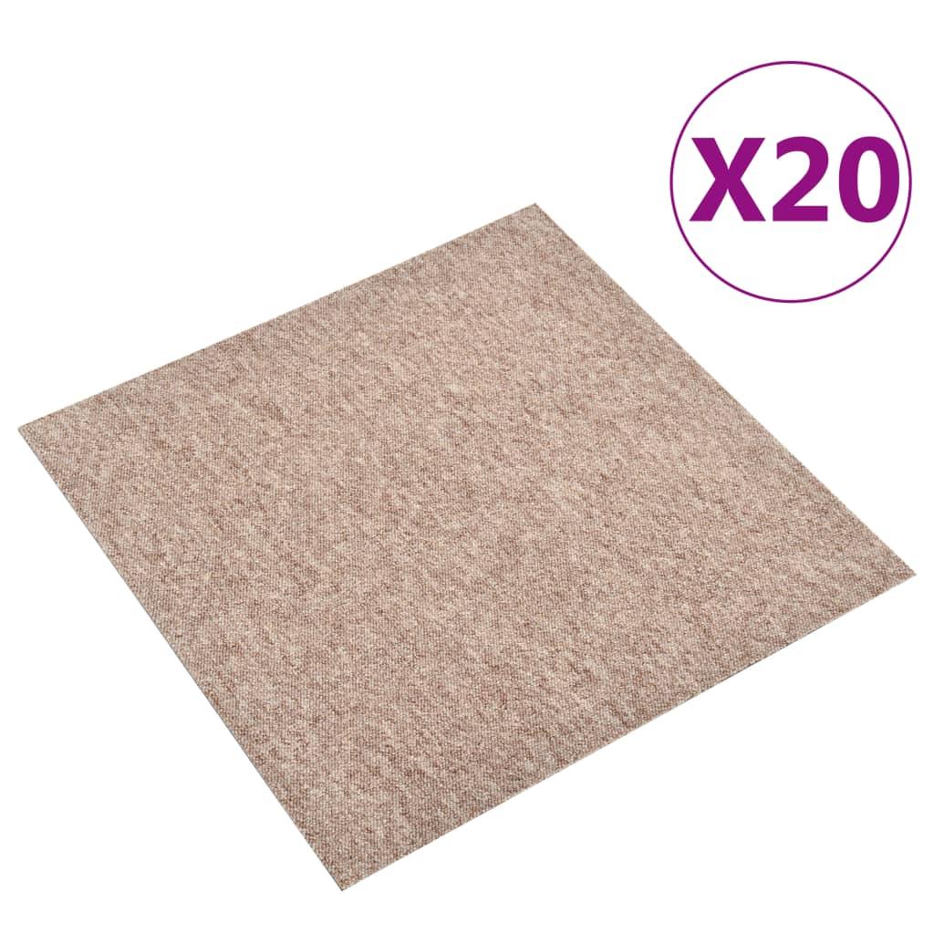vidaXL Kobercové podlahové dlaždice 20 ks 5 m² 50x50 cm béžové