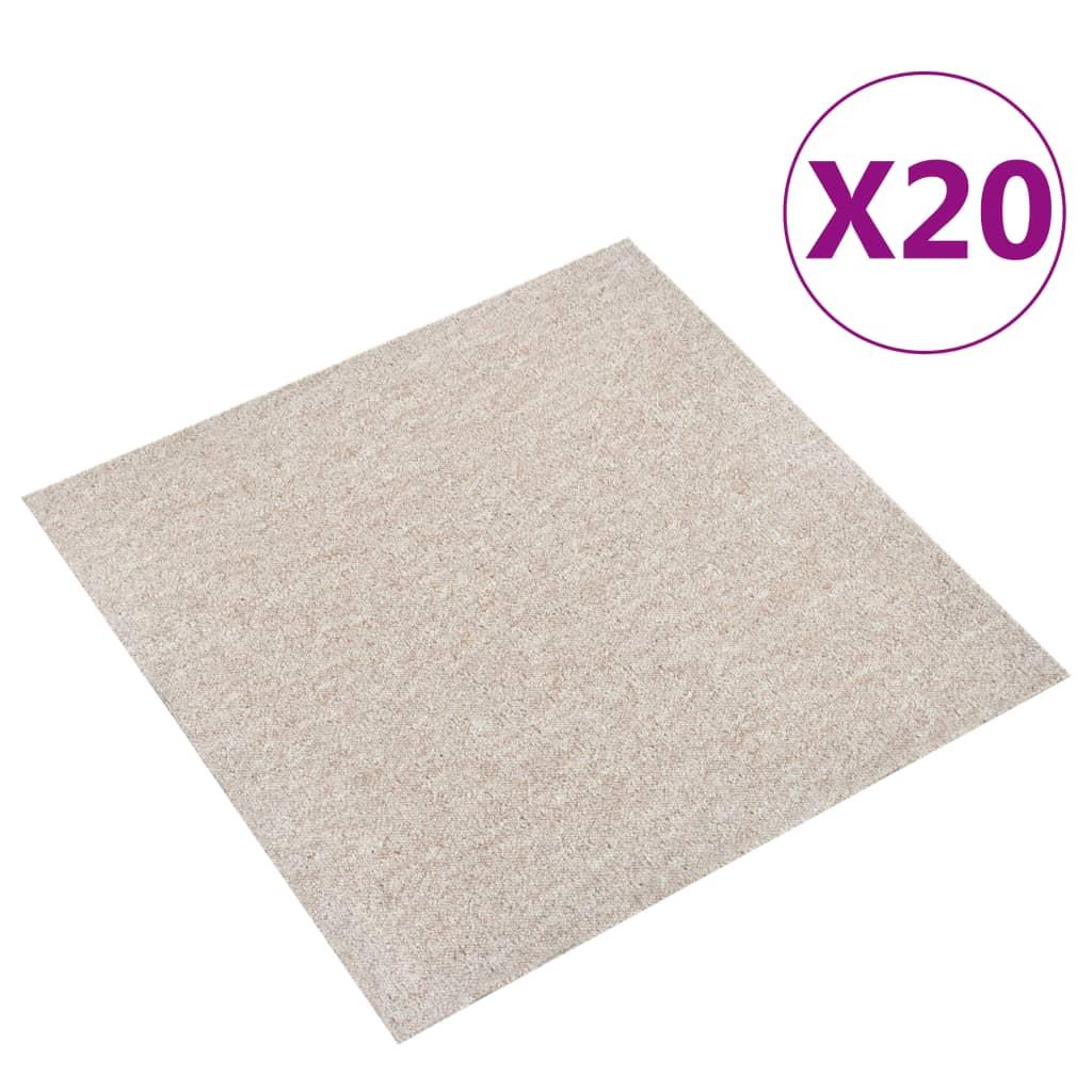 vidaXL Kobercové podlahové dlaždice 20 ks 5 m² 50x50 cm bledobéžové