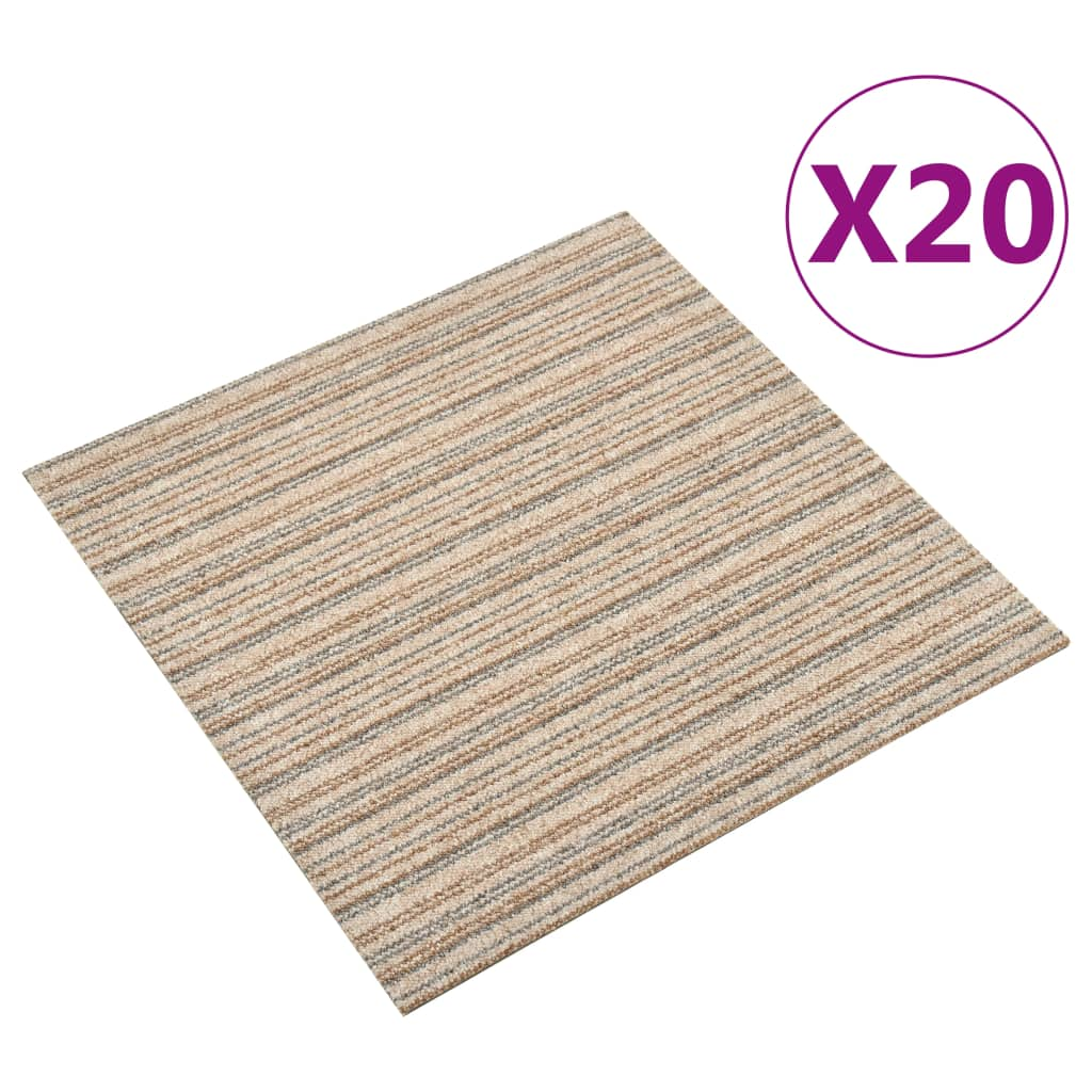 vidaXL Kobercové podlahové dlaždice 20 ks 5 m² 50x50 cm pruhy béžové