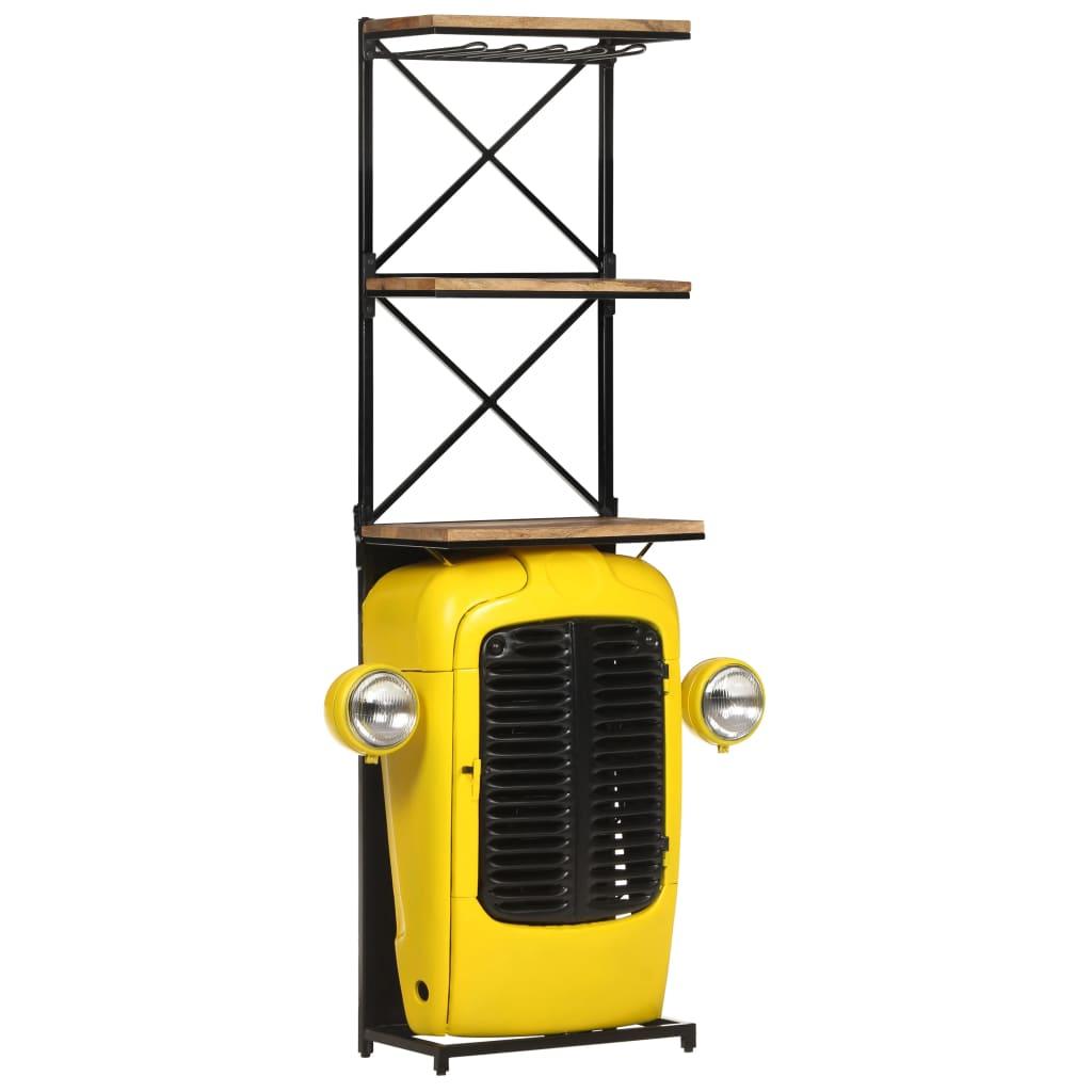 vidaXL Skrinka na víno s dizajnom traktora 49x31x170 cm, mangový masív