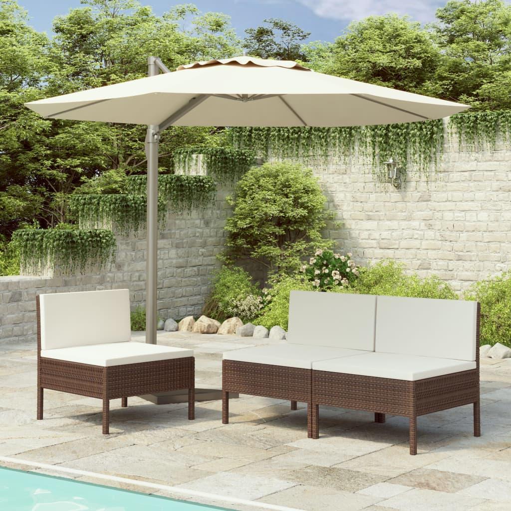 vidaXL Záhradné stoličky 3 ks s podložkami, polyratan, hnedé