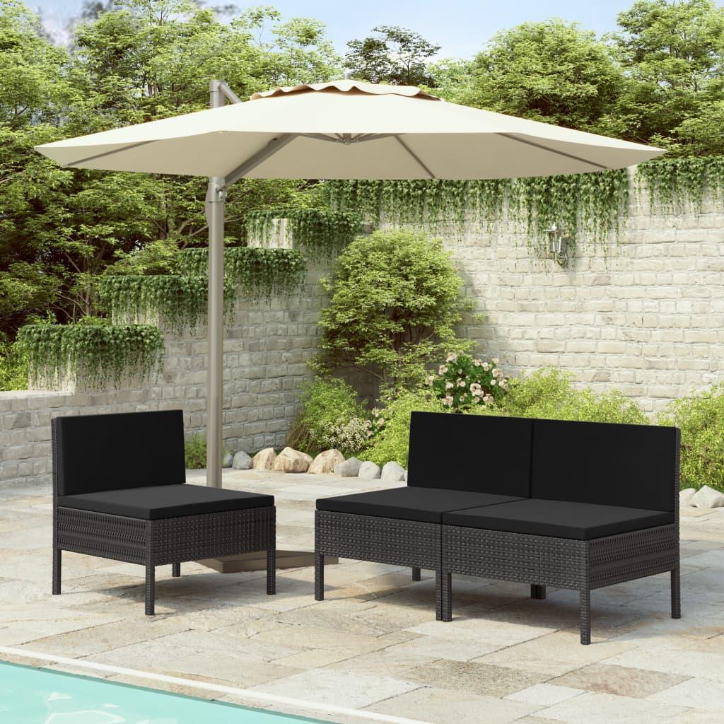 vidaXL Záhradné stoličky 3 ks s podložkami, polyratan, čierne