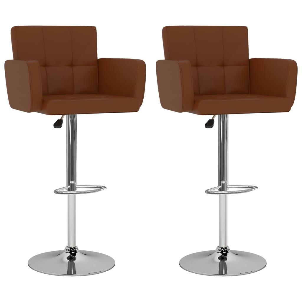 vidaXL Barové stoličky 2 ks, hnedé, umelá koža
