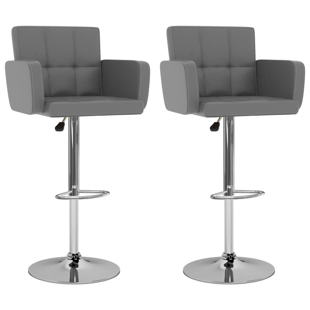 vidaXL Barové stoličky 2 ks, sivé, umelá koža
