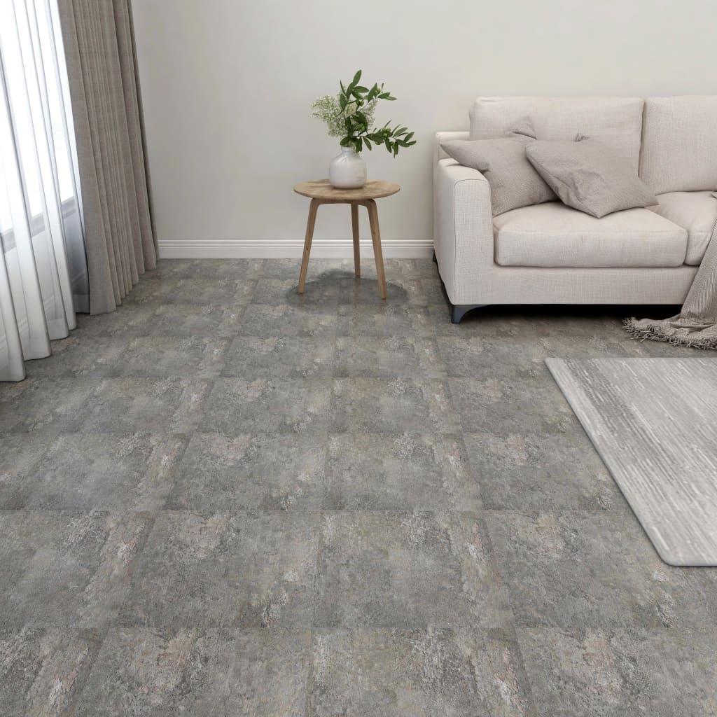 vidaXL Samolepiace podlahové dosky 55 ks, PVC 5,11 m², sivé