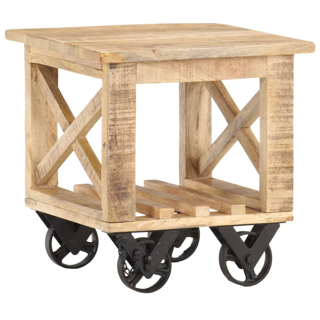 vidaXL Príručný stolík na kolieskach 40x40x42 cm, surové mangové drevo