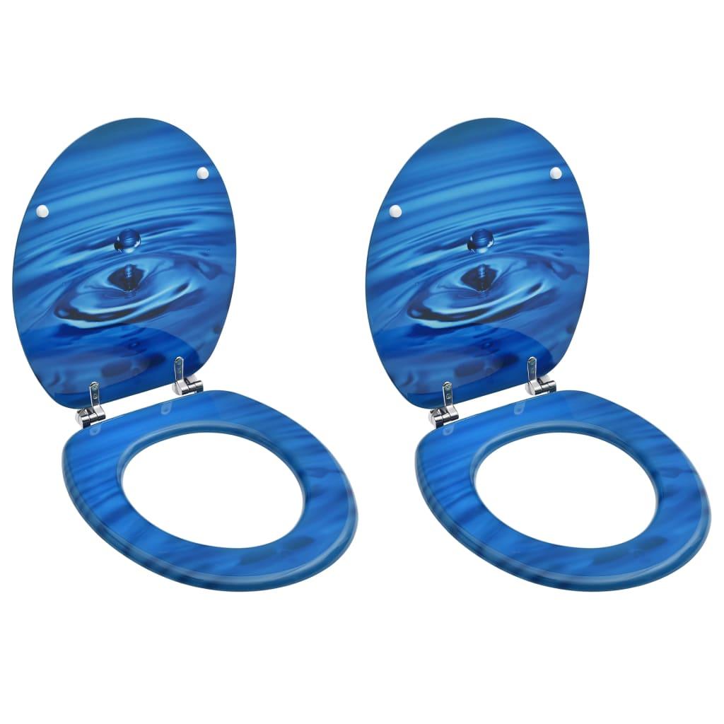 vidaXL WC sedadlá s poklopom 2 ks MDF modré dizajn s kvapkami