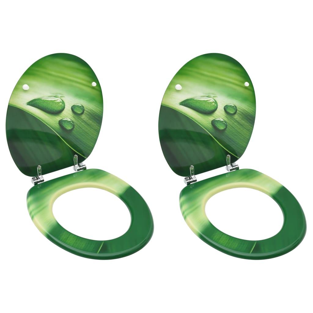 vidaXL WC sedadlá s poklopom 2 ks MDF zelené dizajn s kvapkami