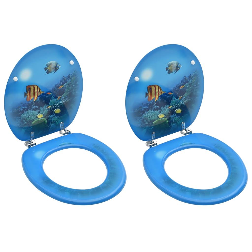 vidaXL WC sedadlá s poklopom 2 ks MDF dizajn podmorského života