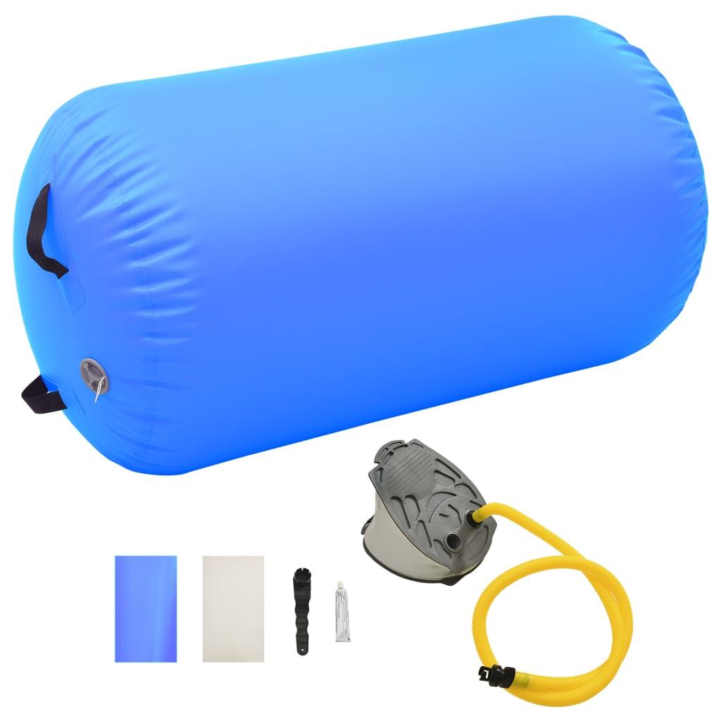 vidaXL Nafukovací gymnastický valec s pumpou 100x60 cm PVC modrý