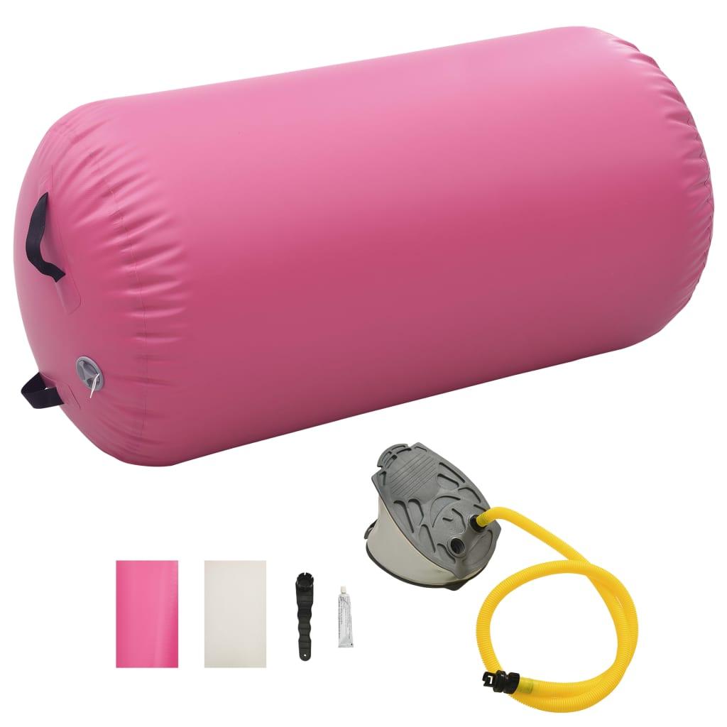 vidaXL Nafukovací gymnastický valec s pumpou 120x75 cm PVC ružový