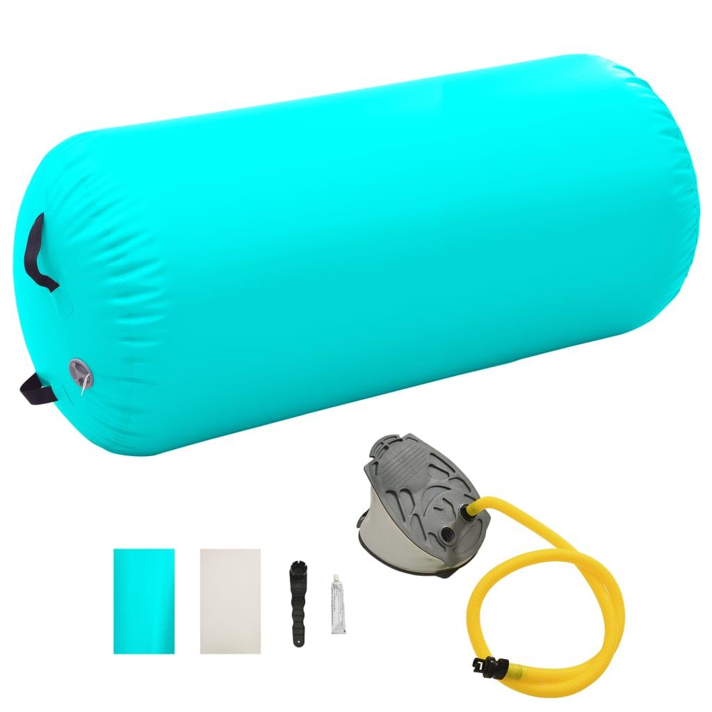 vidaXL Nafukovací gymnastický valec s pumpou 120x90 cm PVC zelený
