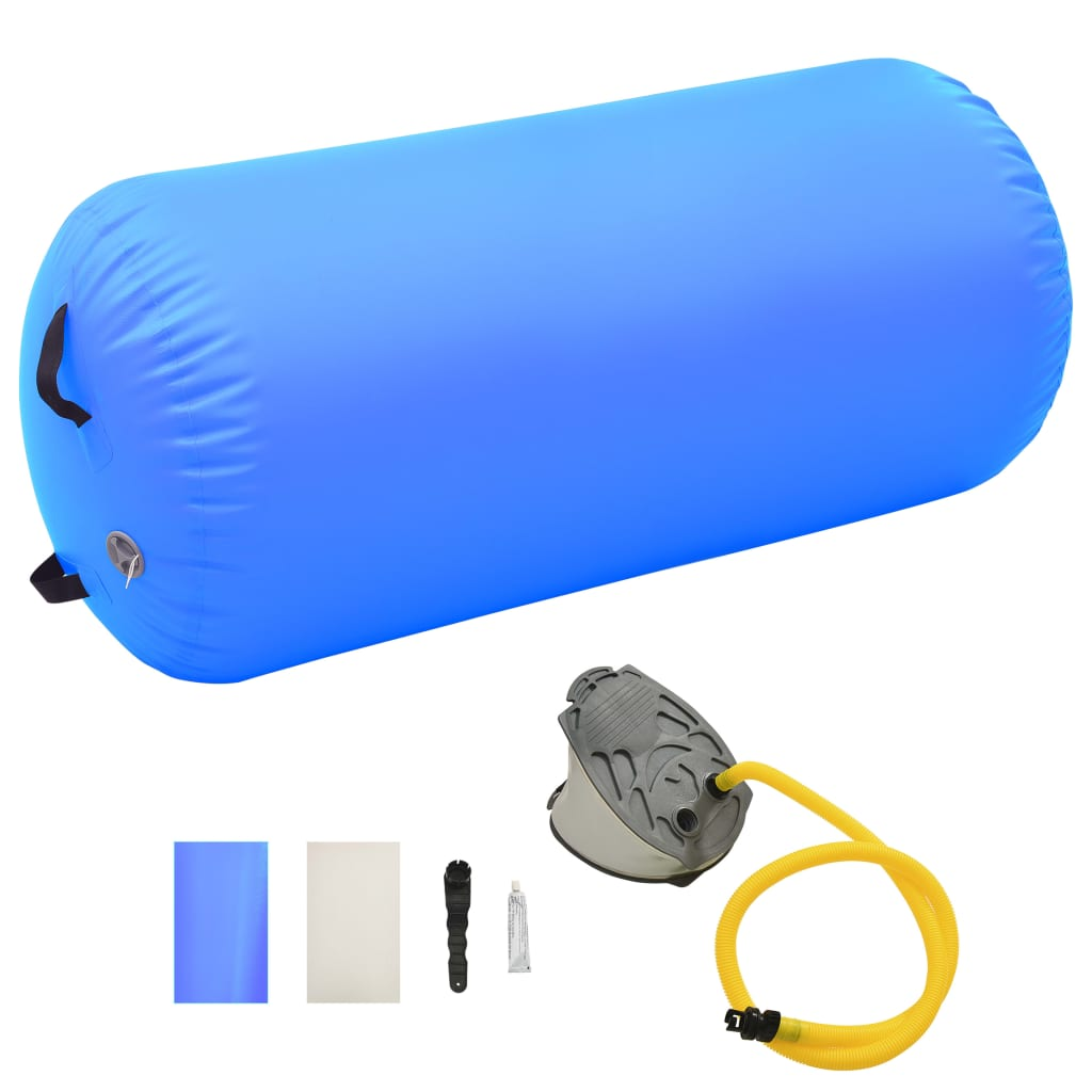 vidaXL Nafukovací gymnastický valec s pumpou 120x90 cm PVC modrý