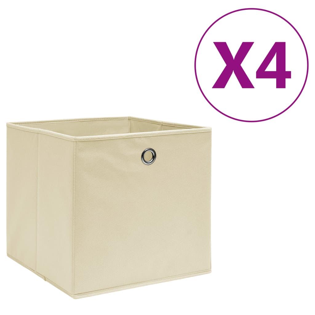 vidaXL Úložné boxy 4 ks, netkaná textília 28x28x28 cm, krémové