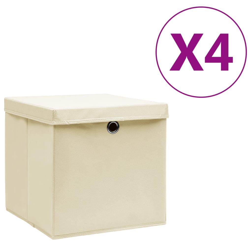 vidaXL Úložné boxy s vekom 4 ks, 28x28x28 cm, krémové