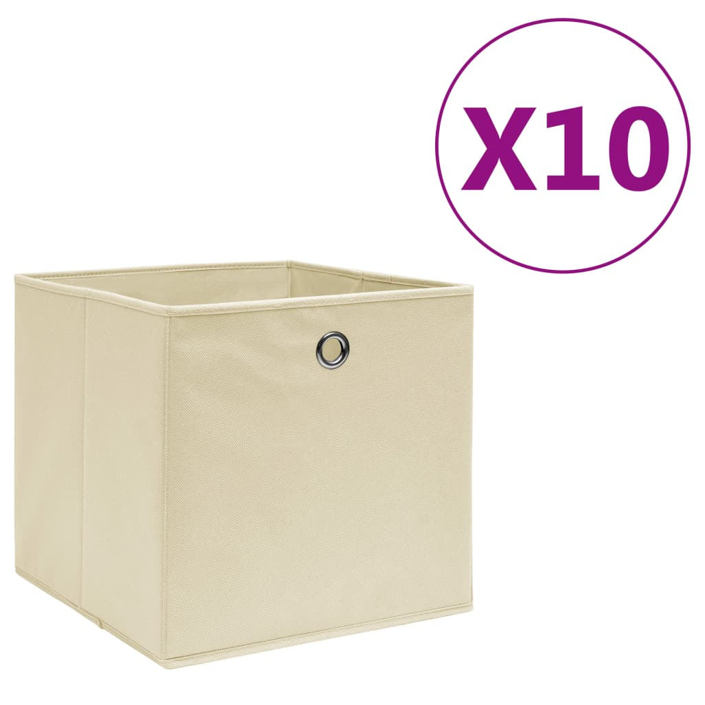 vidaXL Úložné boxy 10 ks, netkaná textília 28x28x28 cm, krémové