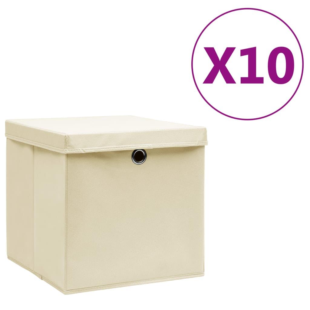vidaXL Úložné boxy s vekom 10 ks, 28x28x28 cm, krémové