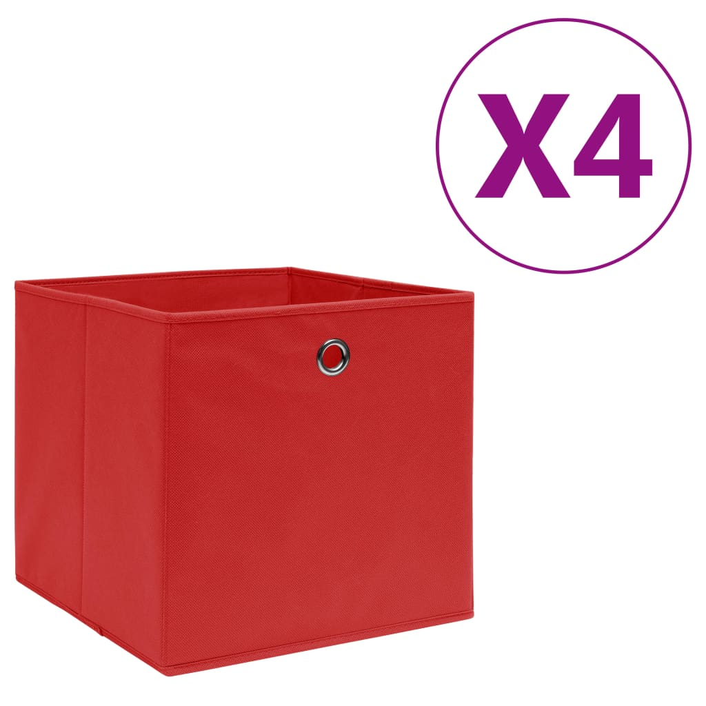 vidaXL Úložné boxy 4 ks, netkaná textília 28x28x28 cm, červené