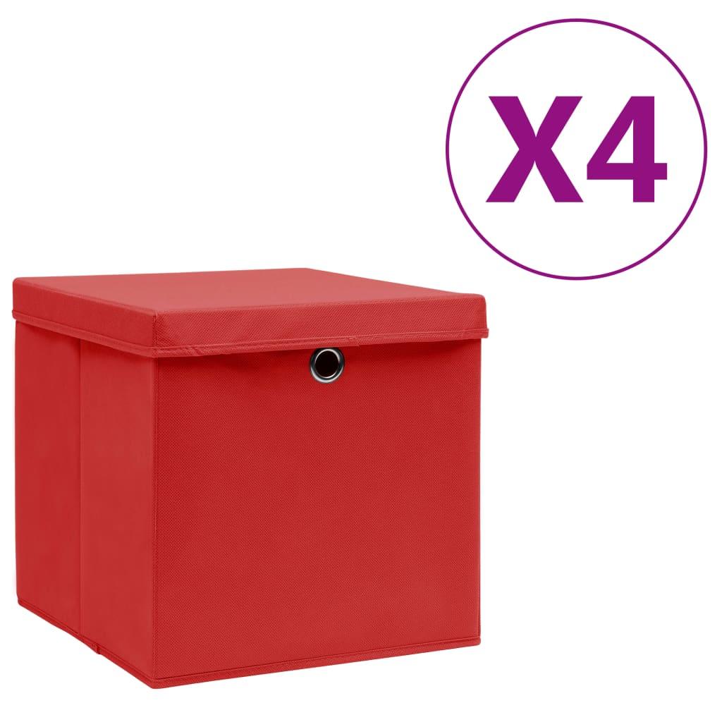 vidaXL Úložné boxy s vekom 4 ks, 28x28x28 cm, červené