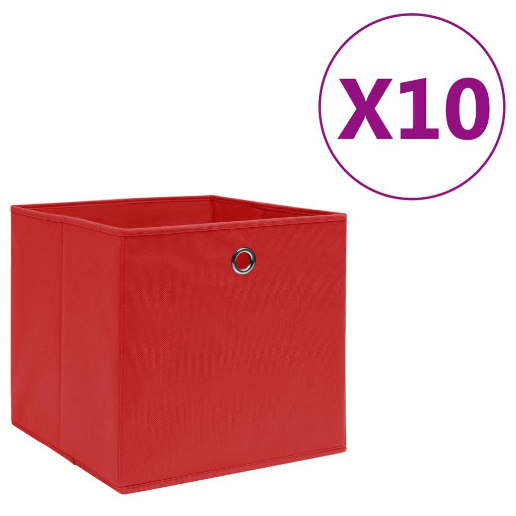 vidaXL Úložné boxy 10 ks, netkaná textília 28x28x28 cm, červené