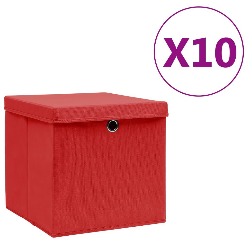 vidaXL Úložné boxy s vekom 10 ks, 28x28x28 cm, červené