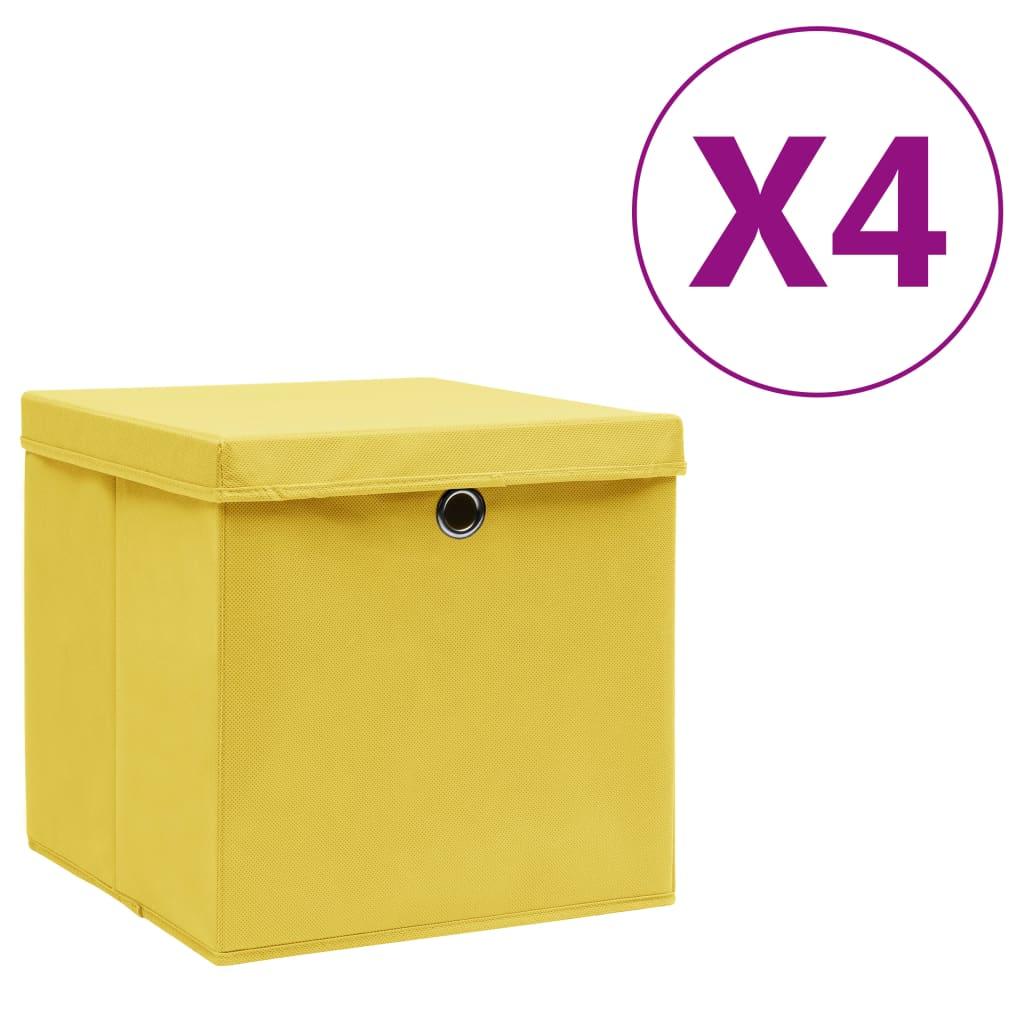 vidaXL Úložné boxy s vekom 4 ks, 28x28x28 cm, žlté