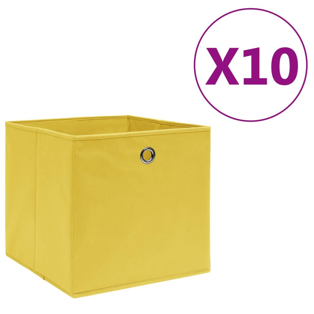 vidaXL Úložné boxy 10 ks, netkaná textília 28x28x28 cm, žlté